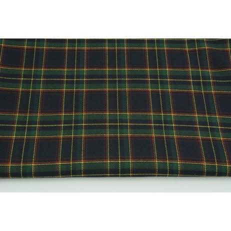 Clothing fabric with elastane, medium tartan check navy-green