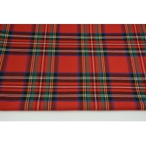 Clothing fabric with elastane, large tartan check red-green-blue