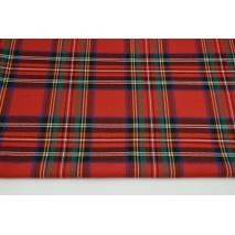 Tkanina odzieżowa z elastanem, duża krata czerwono-zielono-niebieska