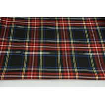 Clothing fabric with elastane, large tartan check black-red-blue