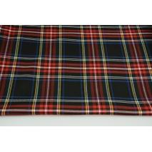 Tkanina odzieżowa z elastanem, duża krata czarno-czerwono-niebieska