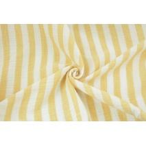 Muślin bawełniany, paski 15mm biało-żółte