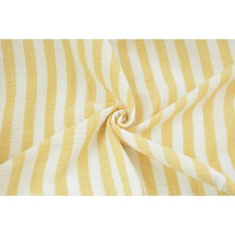 Double gauze 100% cotton 15mm stripes white-yellow