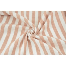 Double gauze 100% cotton 15mm stripes white-ginger