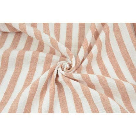 Double gauze 100% cotton 15mm stripes white-ginger
