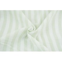 Double gauze 100% cotton 15mm stripes white-mint