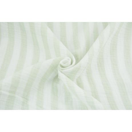 Double gauze 100% cotton 15mm stripes white-mint