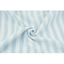Muślin bawełniany, paski 15mm biało-niebieskie