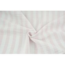 Muślin bawełniany, paski 15mm biało-różowe