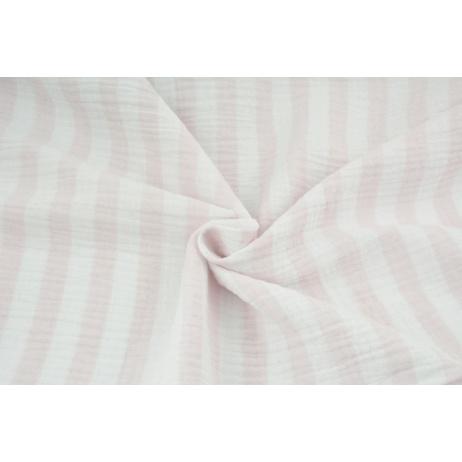 Double gauze 100% cotton 15mm stripes white-pink