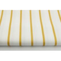 Bawełna 100% złote paski 5mm na białym tle II jakość