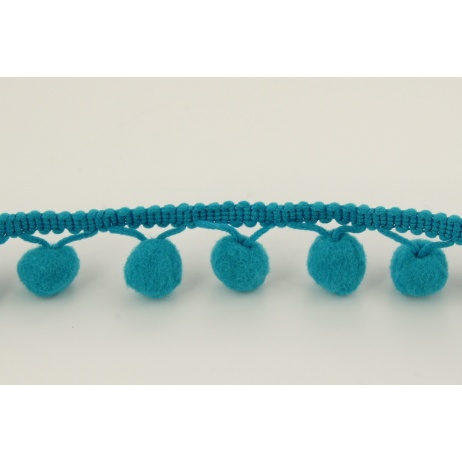 Turquoise ribbon 15mm pom poms (double threat)