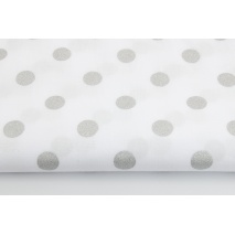 Cotton 100% silver dots 15mm on a white background