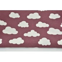 Tkanina dekoracyjna, chmurki na ciemnym wrzosie 170g/m2