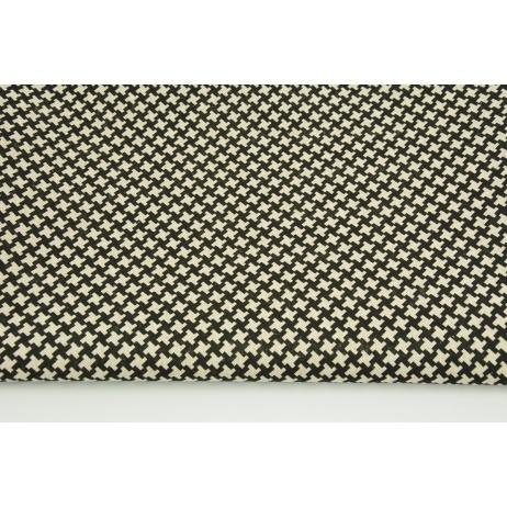 Tkanina dekoracyjna, czarne krzyżyki na lnianym tle 200g/m2