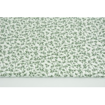 Clothing cotton fabric with elastane, dark green twigs on a white background 120g/m2