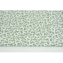 Tkanina odzieżowa z elastanem, ciemnozielone gałązki na białym tle 120g/m2
