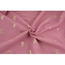 Double gauze 100% cotton golden butterflies on a dark pink background