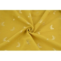 Double gauze 100% cotton golden butterflies on a mustard background