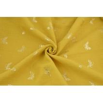 Muślin bawełniany, musztardowy w złote motyle