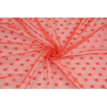 Soft tulle with dots, poppy red