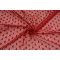 Soft tulle with dots, red