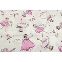 Bawełna 100%, różowe tancerki, baletnice na kremowym tle