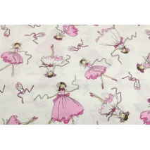 Cotton 100% pink dancers, ballerinas on a creamy background