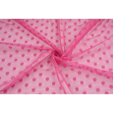 Soft tulle with dots, fuchsia