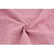 Double gauze 100% cotton white polka dots on a dark pink background