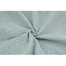 Double gauze 100% cotton white polka dots on a gray-blue background