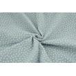 Double gauze 100% cotton white polka dots on a gray-blue background