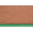 Double gauze 100% cotton white polka dots on a ginger background