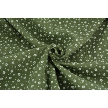Double gauze 100% cotton white meadow on a khaki background