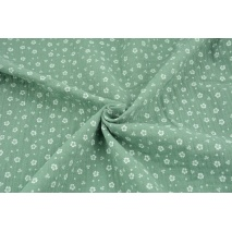 Double gauze 100% cotton white meadow on a green background