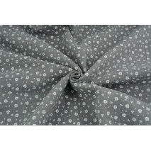Double gauze 100% cotton white meadow on a dark gray background