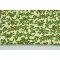 Bawełna 100% ostrokrzew na kremowym tle