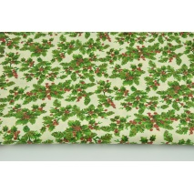 Cotton 100% holly on a creamy background