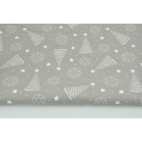Cotton 100% white Christmas trees, stars on a gray background