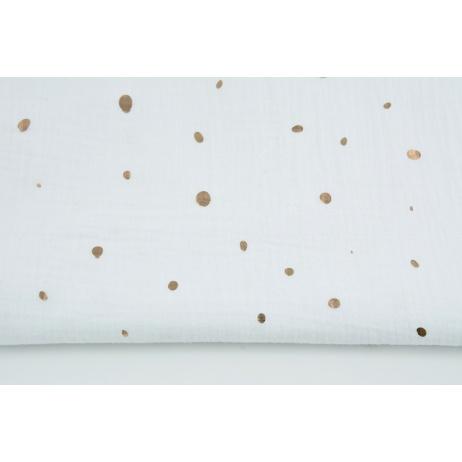 Double gauze 100% cotton golden irregular spots on a white background