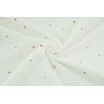 Double gauze 100% cotton golden irregular spots on an ecru background