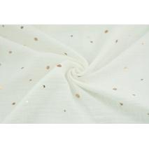 Double gauze 100% cotton golden irregular spots on an ecru background