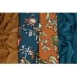 Knitwear, viscose with elastane, oriental flowers petrol