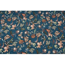 Knitwear, viscose with elastane, oriental flowers petrol