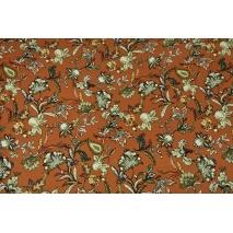 Dzianina wiskoza z elastanem, orientalne kwiaty rudy