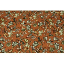 Knitwear, viscose with elastane, oriental flowers ginger