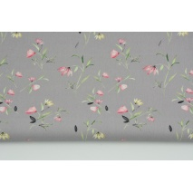 Cotton 100% field flowers on a gray background, poplin