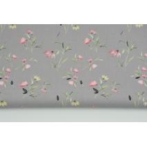 Cotton 100% field flowers on a gray background, poplin