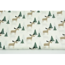Cotton 100% beige moose, Christmas trees on a cream background, poplin