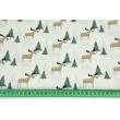Cotton 100% beige moose, Christmas trees on a cream background, poplin